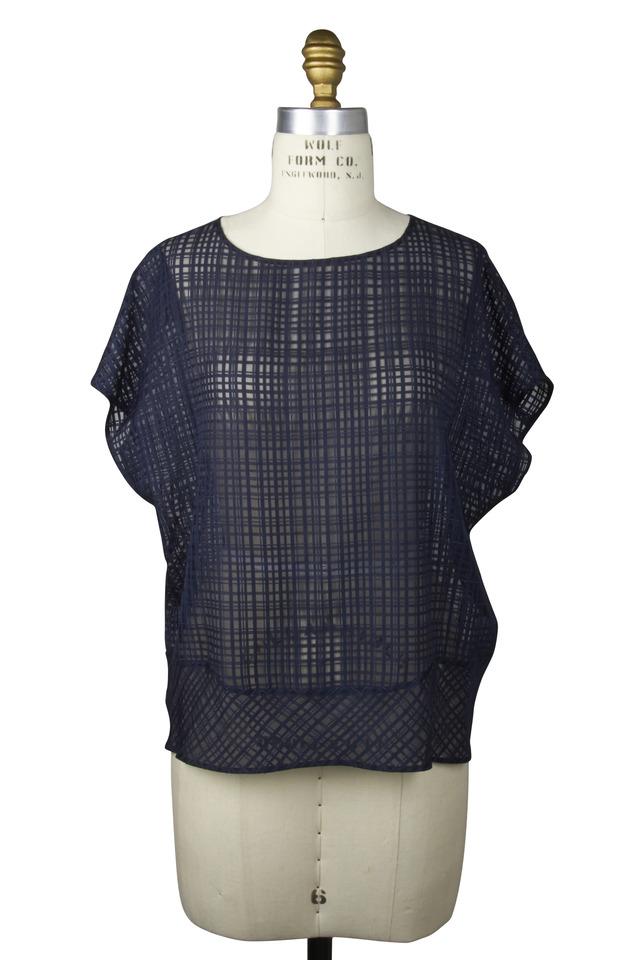 Navy Blue Silk & Cotton Blouse