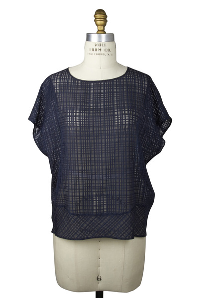 Agnona - Navy Blue Silk & Cotton Blouse