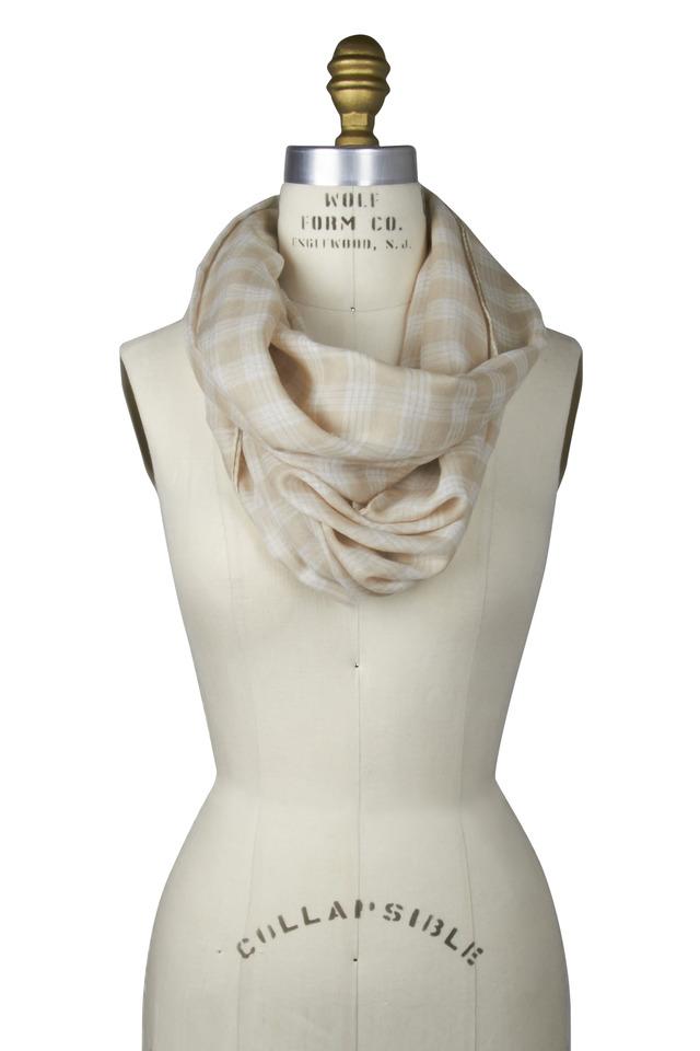 Beige Cashmere & Silk Plaid Scarf