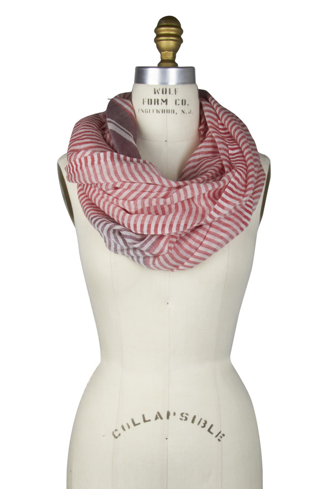 Red Cashmere Stripe Scarf