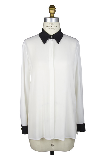 The Row - Charton Black & White Viscose Blouse