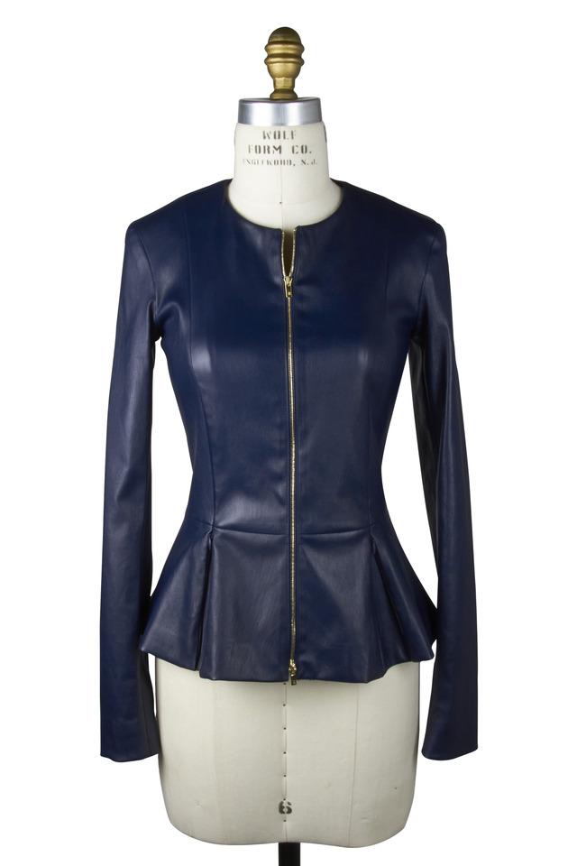 Anasta Blue Leather Jacket