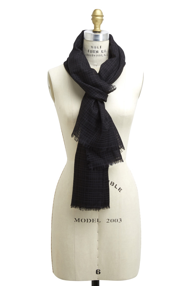 Black Check Organza Scarf