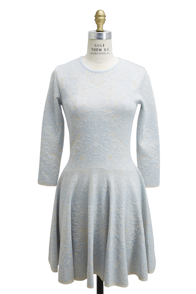 Light Blue Jacquard Dress