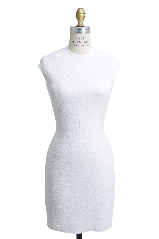 Embossed Floral Jaquard Cap Dress