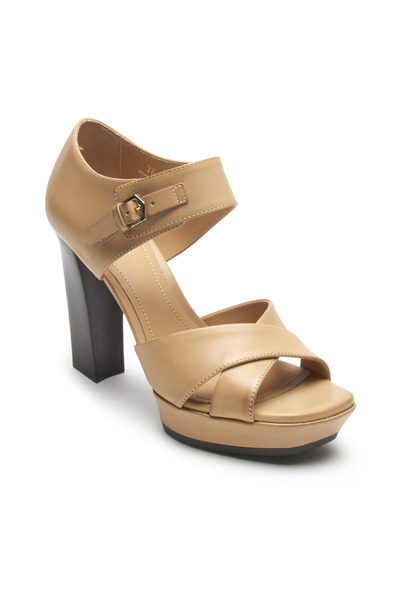 Tod's - Tan Leather Cross-Front & Ankle Strap Pumps