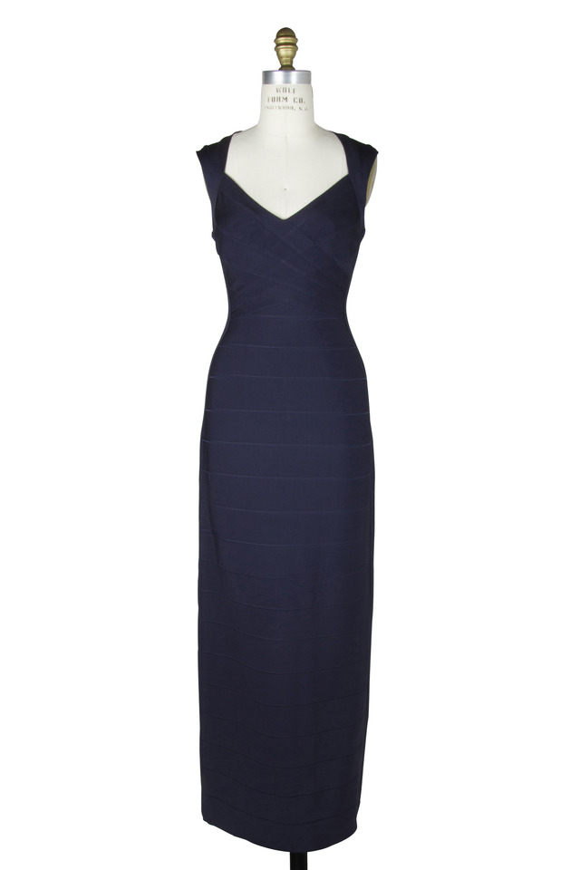 Navy Blue Bandage Floor-Length Gown