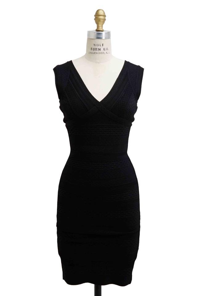 Black Crochet Bandage Dress
