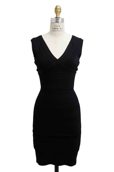 Herve Leger - Black Crochet Bandage Dress