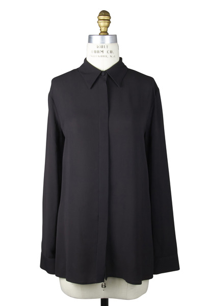 The Row - Carlton Black Crêpe Blouse