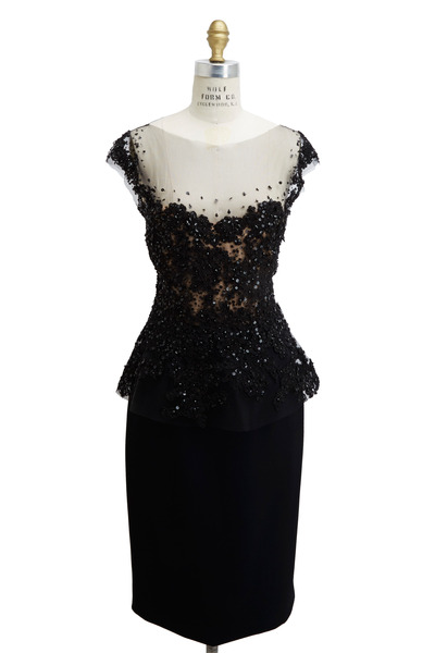 Reem Acra - Black Viscose & Acetate Dress