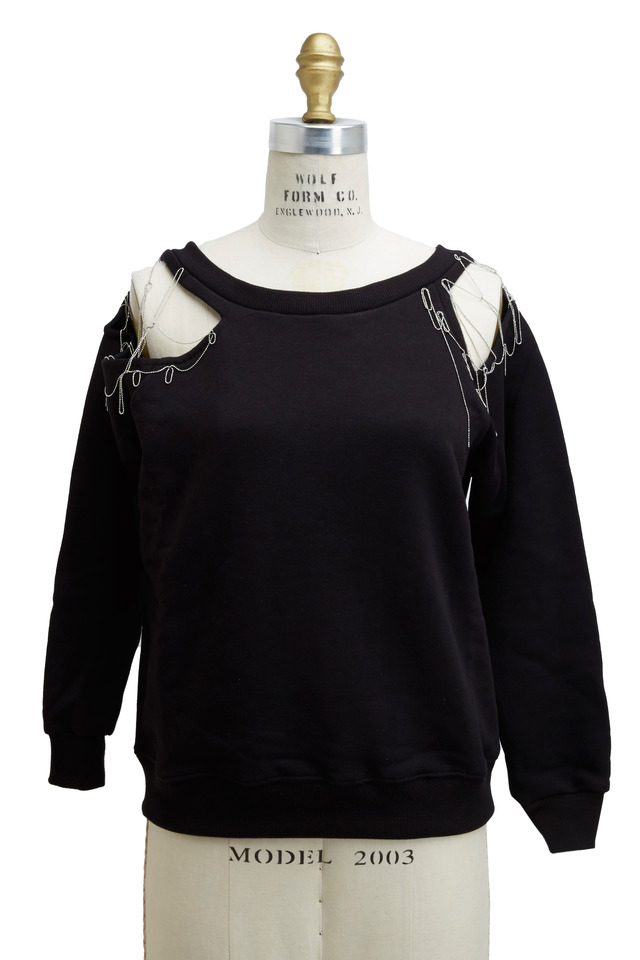 Black Cotton Jersey Sweatshirt