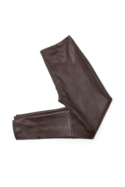 The Row - Jellerton Mahogany Leather Leggings