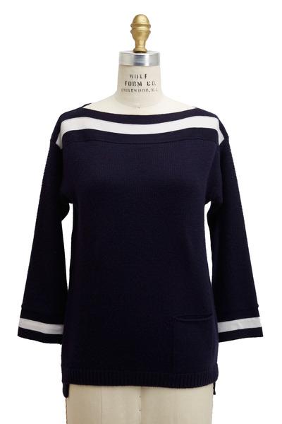 Agnona - Navy Blue & White Cashmere Sweater