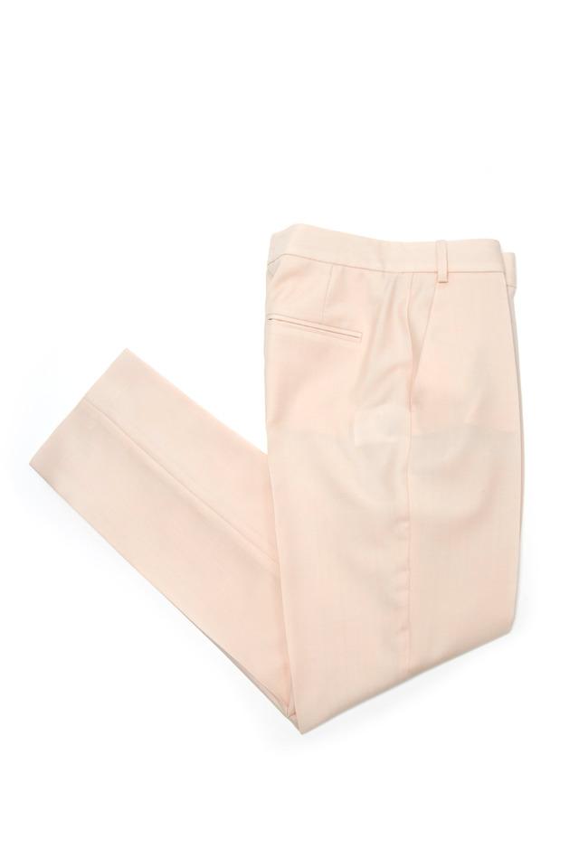 Pale Pink Rayon & Acetate Slim Cropped Pants