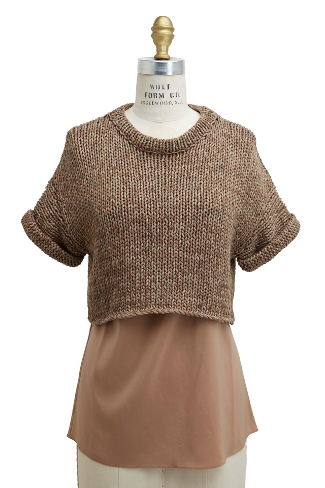 Stamped Cotton Pullover With Silk Tank Top