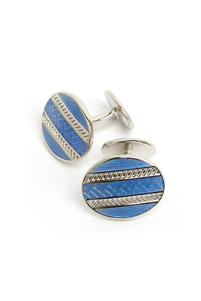 David Donahue - Sterling Silver Light Blue Oval Cuff Links