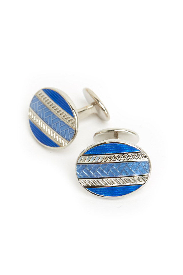 Sterling Silver Blue Oval Cuff Links