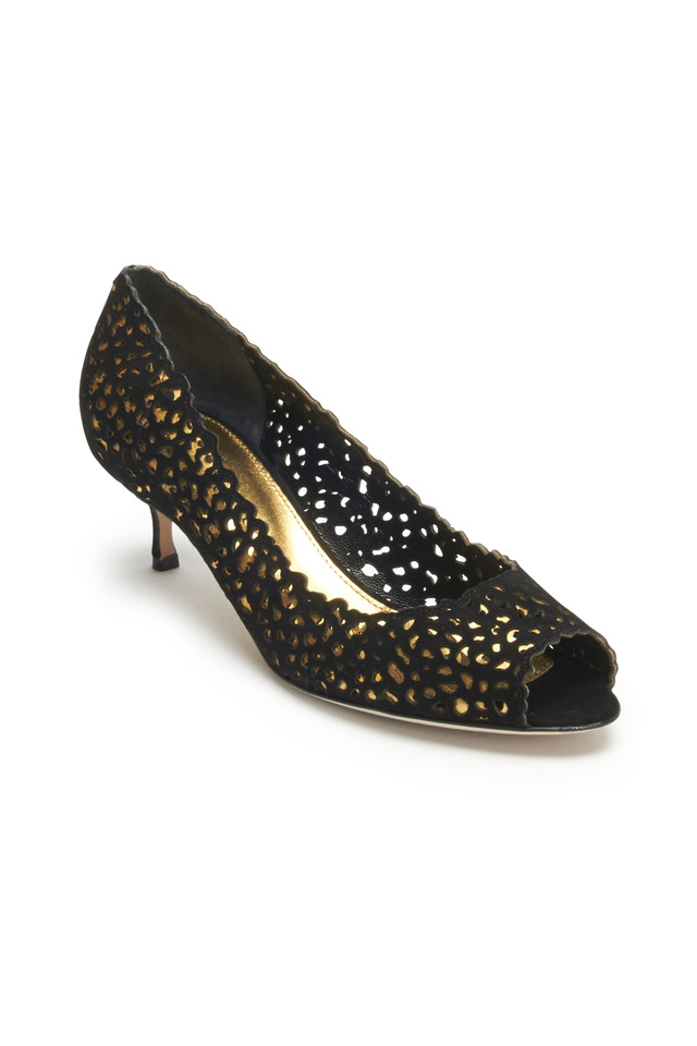 Godiva Blunt Black Suede Cutout Pumps, 50mm