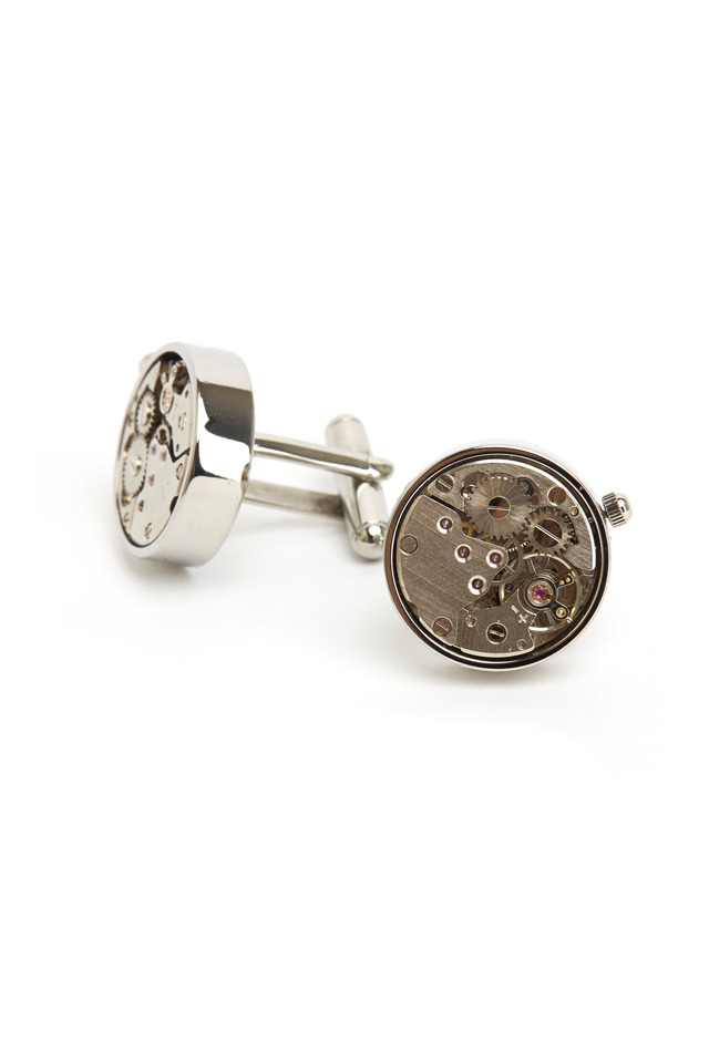 Sterling Silver Watch Movement Cuff Links