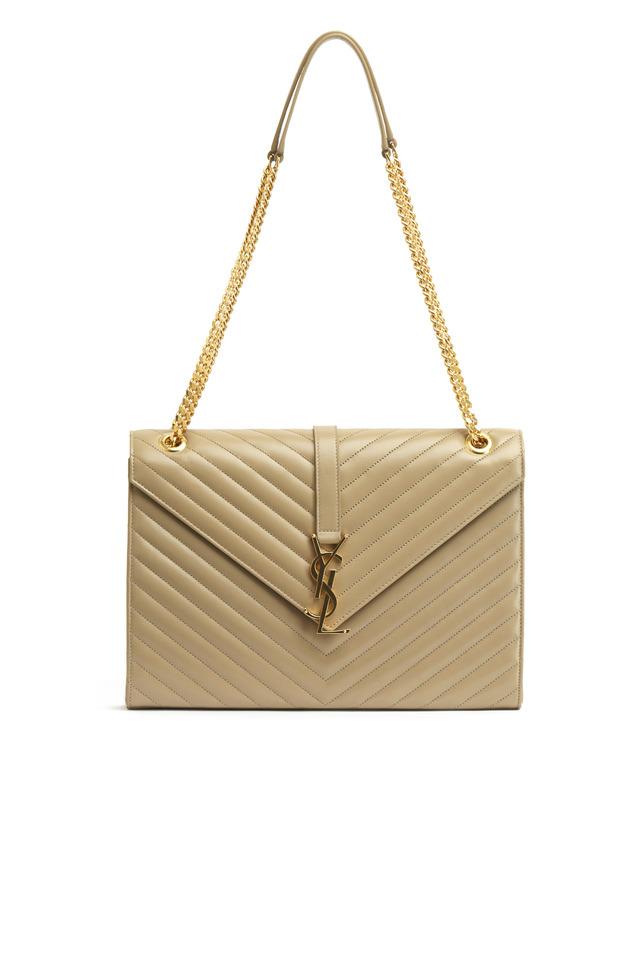Cassandre Lisse Beige Leather Large Shoulder Bag