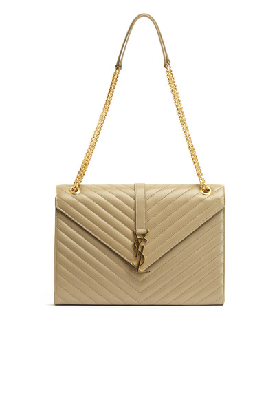 Saint Laurent - Cassandre Lisse Beige Leather Large Shoulder Bag