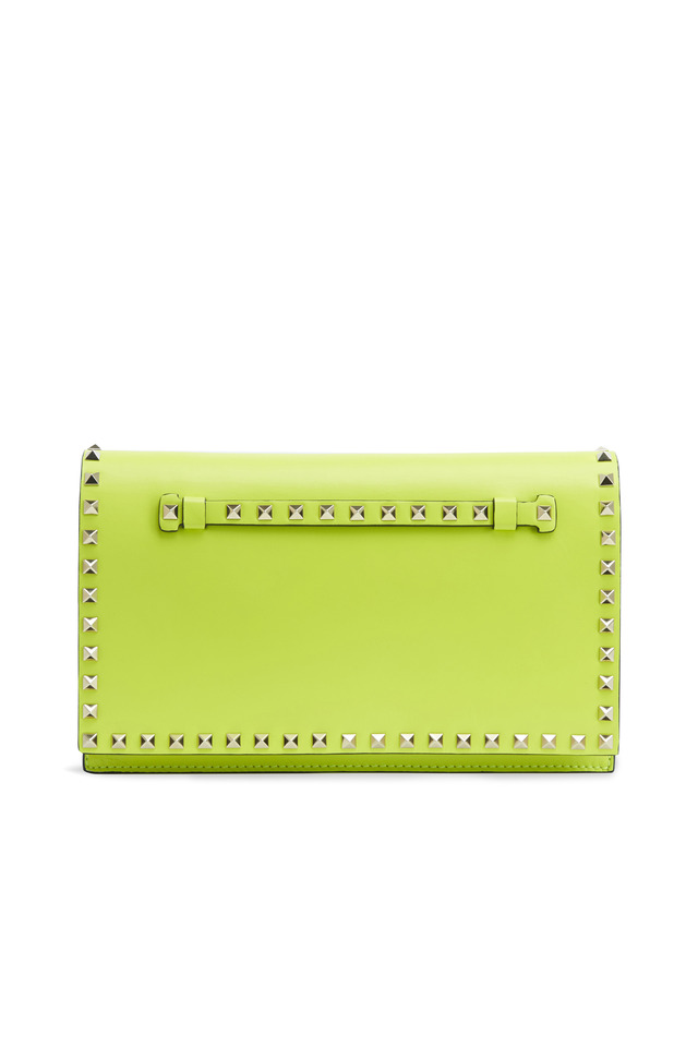 Yellow Leather Stud Flap Clutch