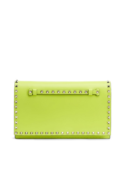 Valentino Garavani - Yellow Leather Stud Flap Clutch