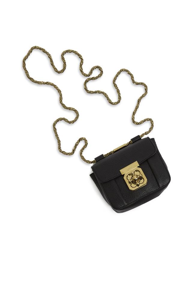 Elsie Black Pebble Leather Mini Chain Handbag