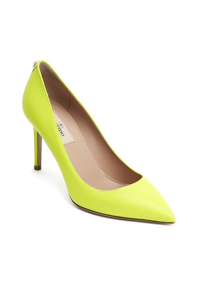 Valentino Garavani - Yellow Soft Leather Standard Sole Pointed Pumps