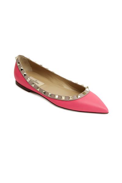 Valentino Garavani - Rockstud Fuchsia Leather Ballet Flats