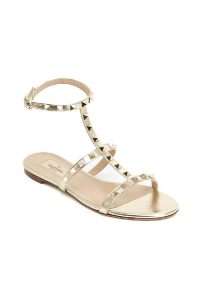 Valentino Garavani - Rockstud Platinum T-Strap Gladiator Sandals