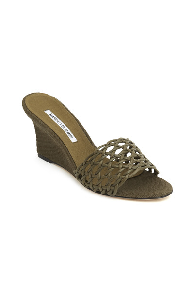 Manolo Blahnik - Tolesi Olive Green Woven Slide Wedges