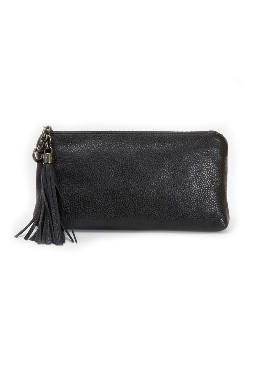Broadway Black Leather Clutch
