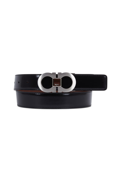 Salvatore Ferragamo - Black & Brown Leather Gancini Reversible Belt