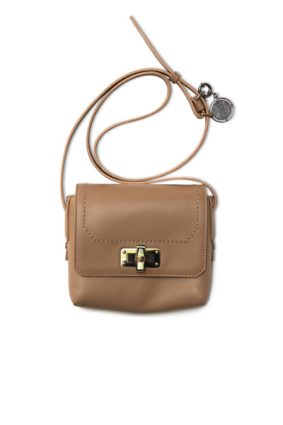 Lanvin - Happy Edgy Beige Leather Mini Crossbody Handbag