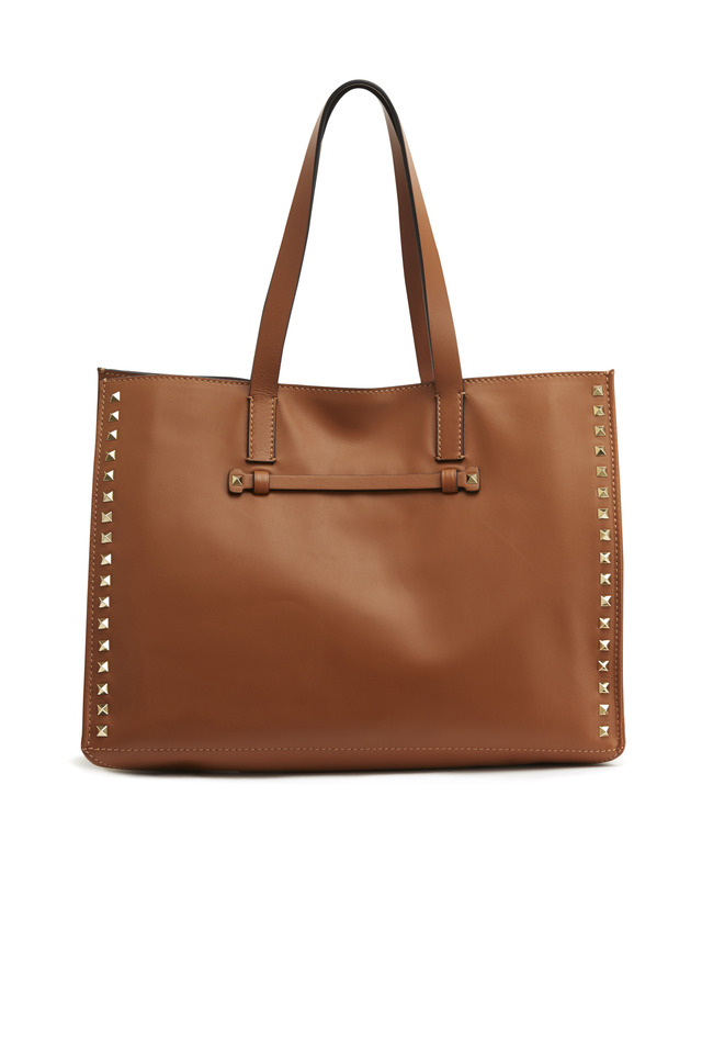 Cognac Leather Medium Rockstud Tote