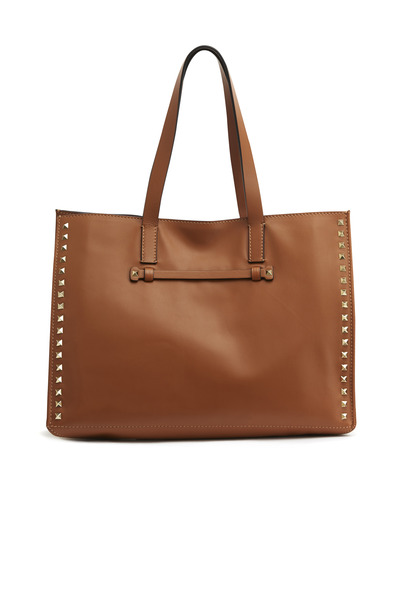 Valentino Garavani - Cognac Leather Medium Rockstud Tote