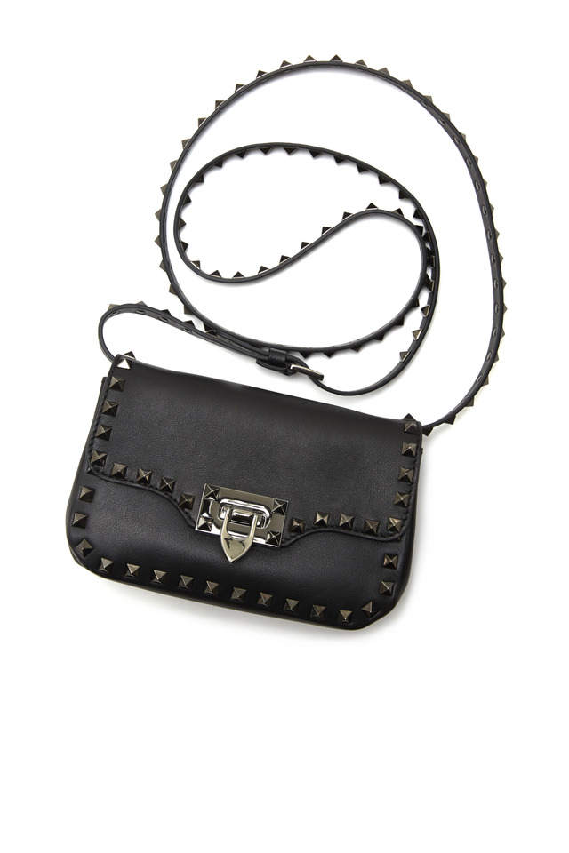 Black Leather Gun Stud Mini Flap Bag