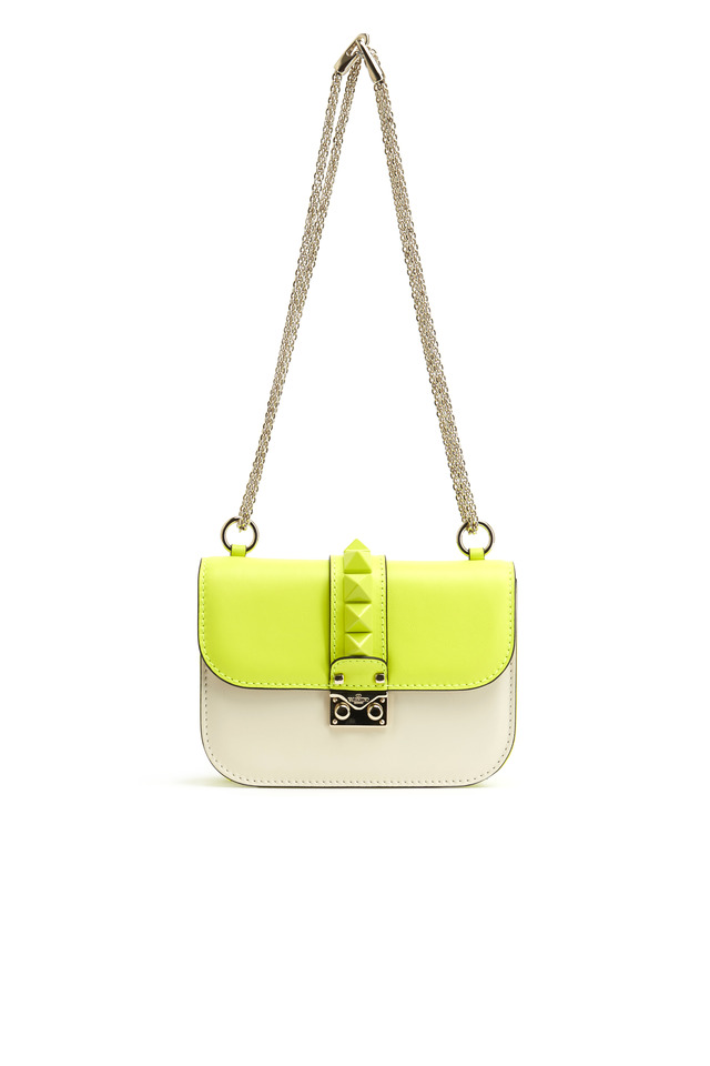 Yellow Leather Rockstud Shoulder Handbag