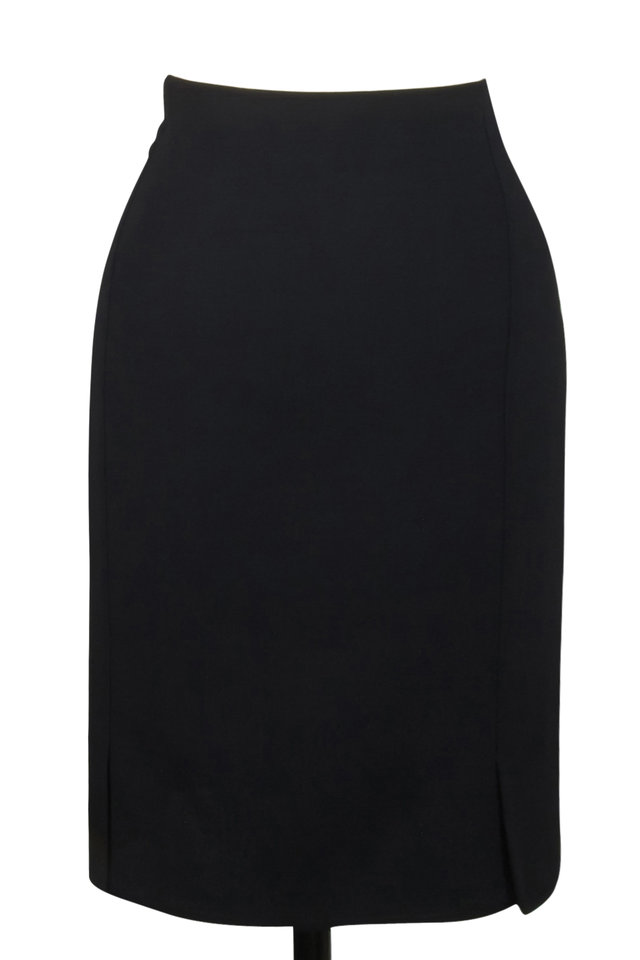 Black Wool Double-Faced Skirt