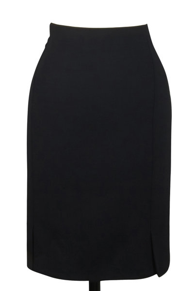 Akris - Black Wool Double-Faced Skirt