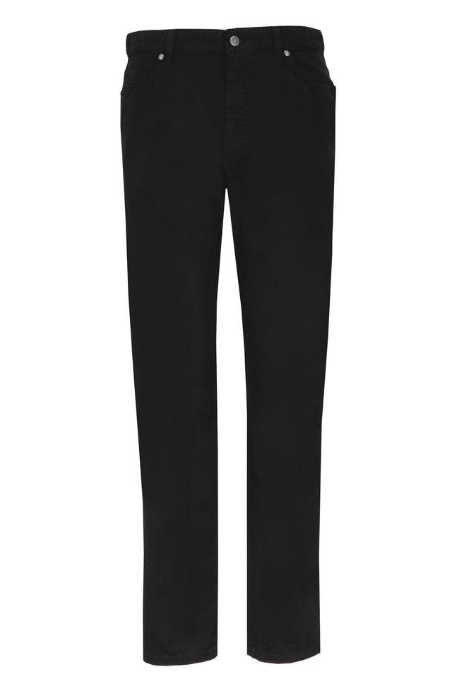 Black Stretch Cotton Five Pocket Pants