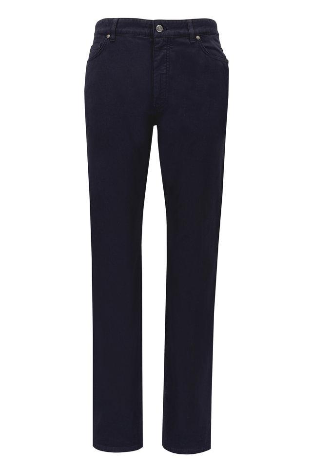 Navy Blue Cotton Five Pocket Pants