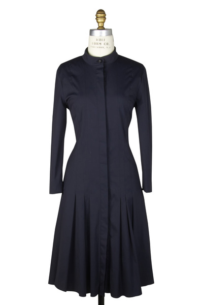 Oscar de la Renta - Navy Blue Cotton Dress
