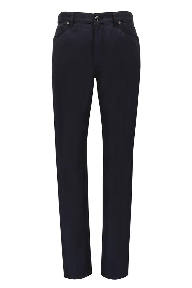 Black Wool & Cotton Five Pocket Pants