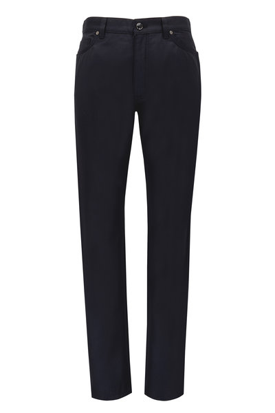 Ermenegildo Zegna - Black Wool & Cotton Five Pocket Pants