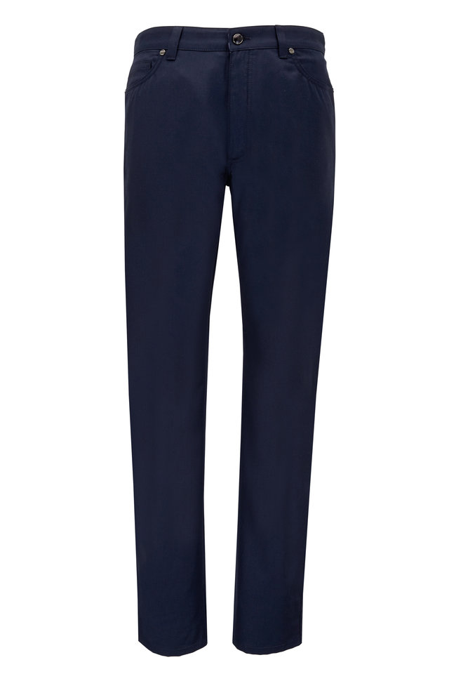 Navy Blue Wool & Cotton Five Pocket Pants