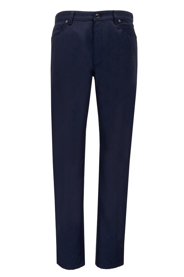 Navy Blue Wool & Cotton Five Pocket Pant