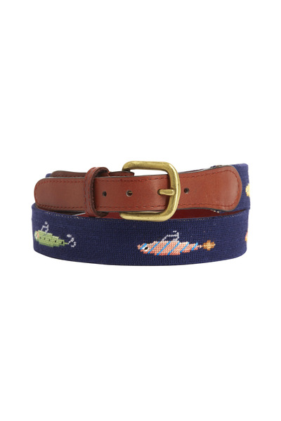 Smathers & Branson - Fishing Lures Navy & Chestnut Needlepoint Belt